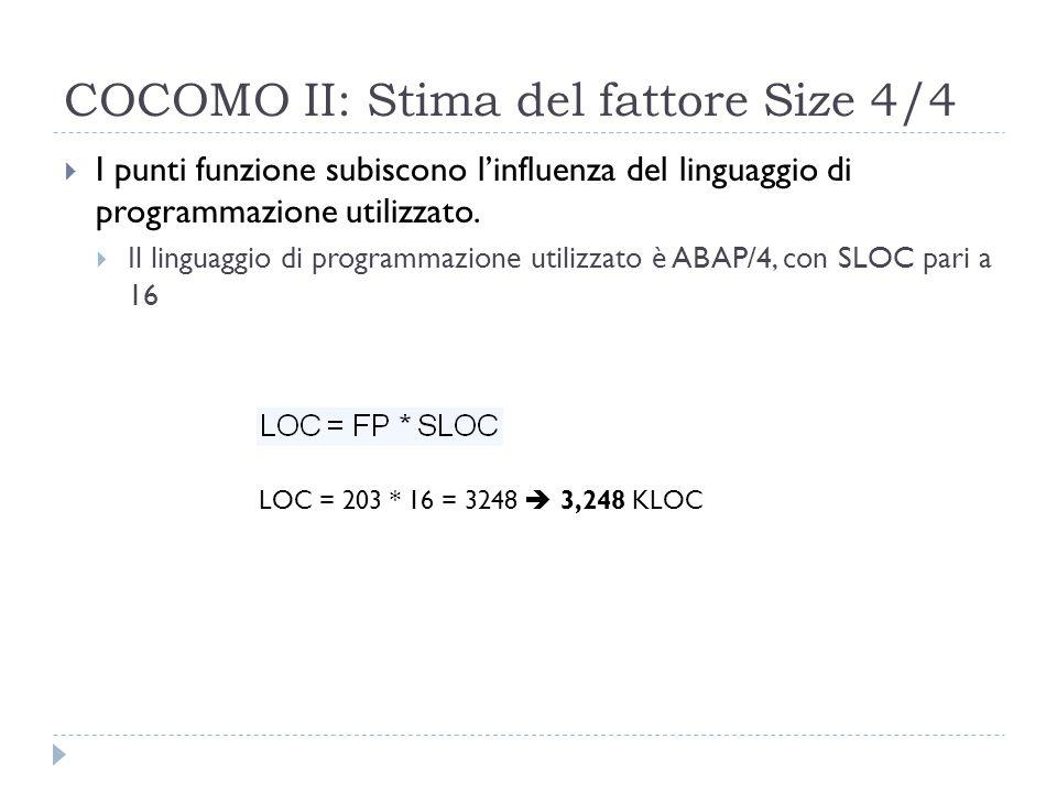 COCOMO II: Stima del fattore Size 4/4  I punti funzione subiscono l'influenza del linguaggio di programmazione utilizzato.