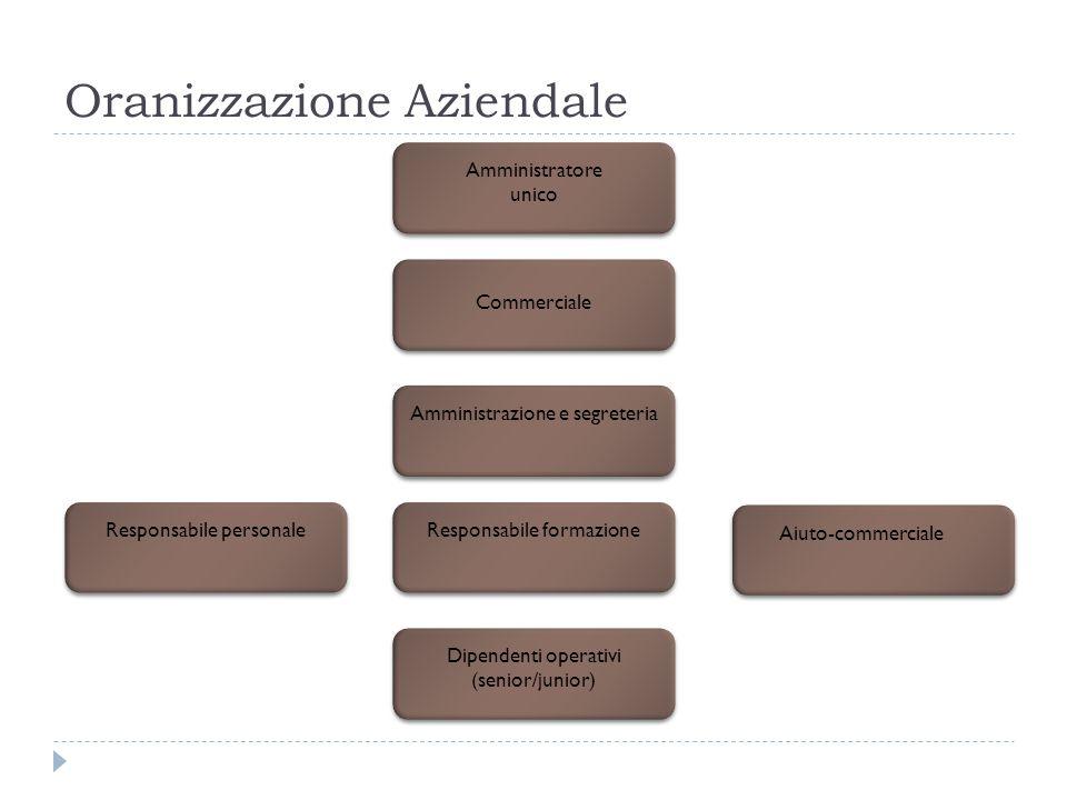Oranizzazione Aziendale Amministratore unico Commerciale Amministrazione e segreteria Responsabile personaleResponsabile formazione Aiuto-commerciale Dipendenti operativi (senior/junior)
