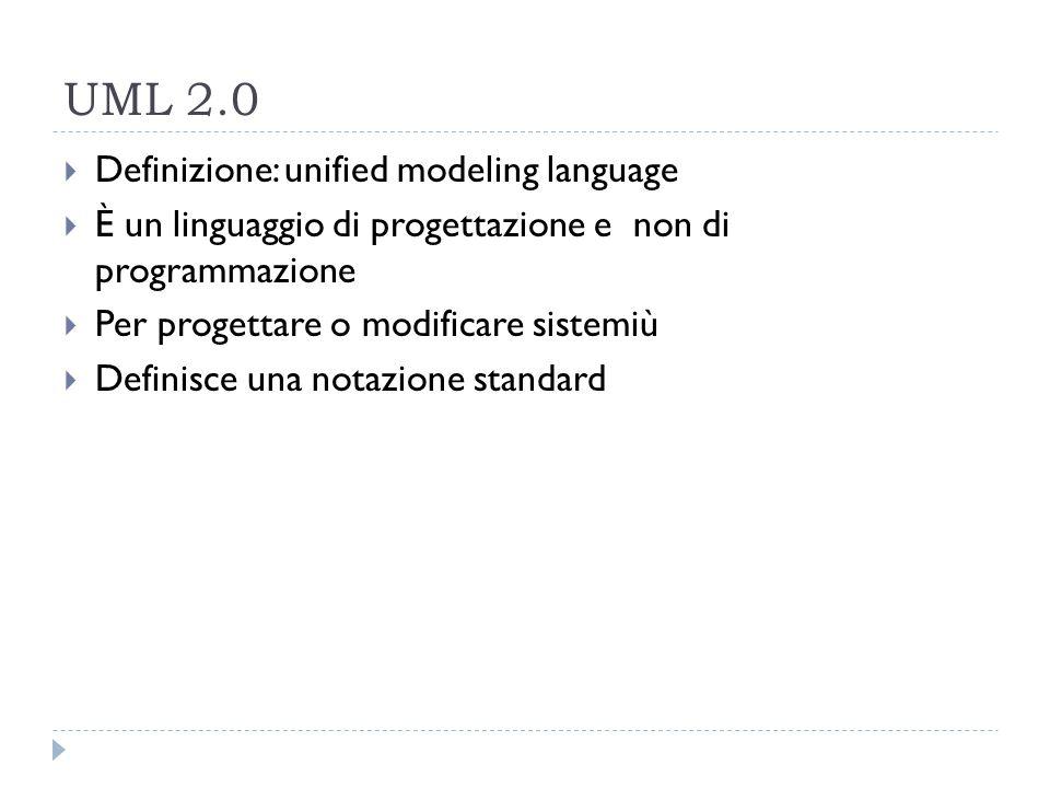 UML 2.0  Definizione: unified modeling language  È un linguaggio di progettazione e non di programmazione  Per progettare o modificare sistemiù  Definisce una notazione standard