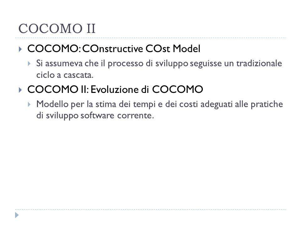 COCOMO II  COCOMO: COnstructive COst Model  Si assumeva che il processo di sviluppo seguisse un tradizionale ciclo a cascata.