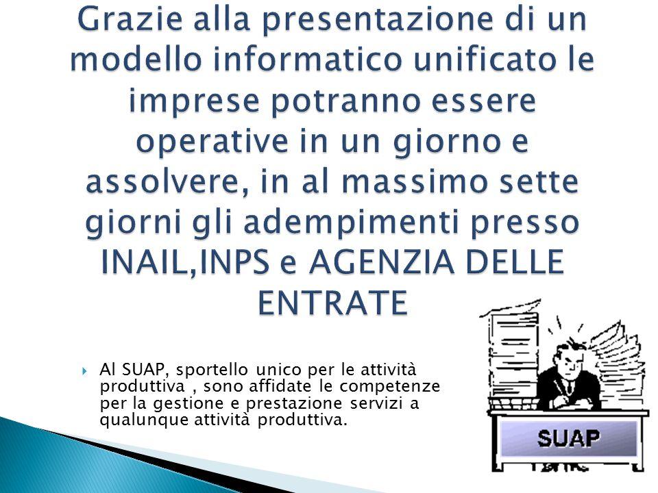  Al SUAP, sportello unico per le attività produttiva, sono affidate le competenze per la gestione e prestazione servizi a qualunque attività produttiva.