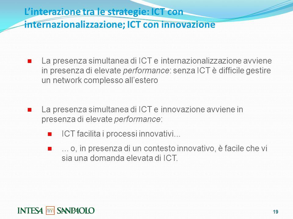 L'interazione tra le strategie: ICT con internazionalizzazione; ICT con innovazione 19 La presenza simultanea di ICT e internazionalizzazione avviene in presenza di elevate performance: senza ICT è difficile gestire un network complesso all'estero La presenza simultanea di ICT e innovazione avviene in presenza di elevate performance: ICT facilita i processi innovativi......