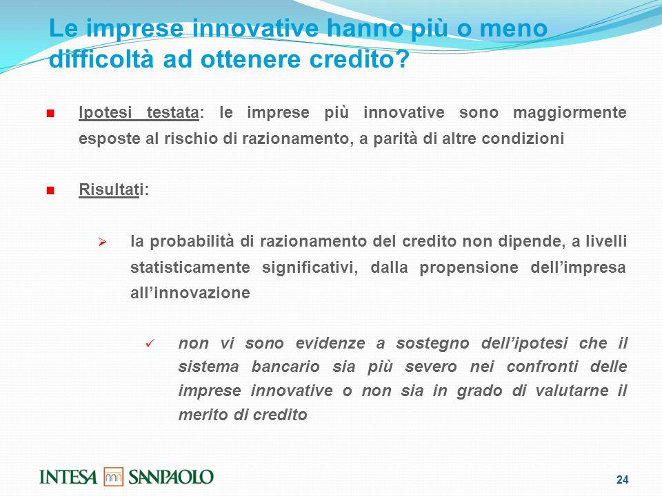 24 Le imprese innovative hanno più o meno difficoltà ad ottenere credito.