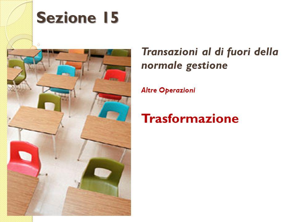 Transazioni al di fuori della normale gestione Altre Operazioni Trasformazione Sezione 15