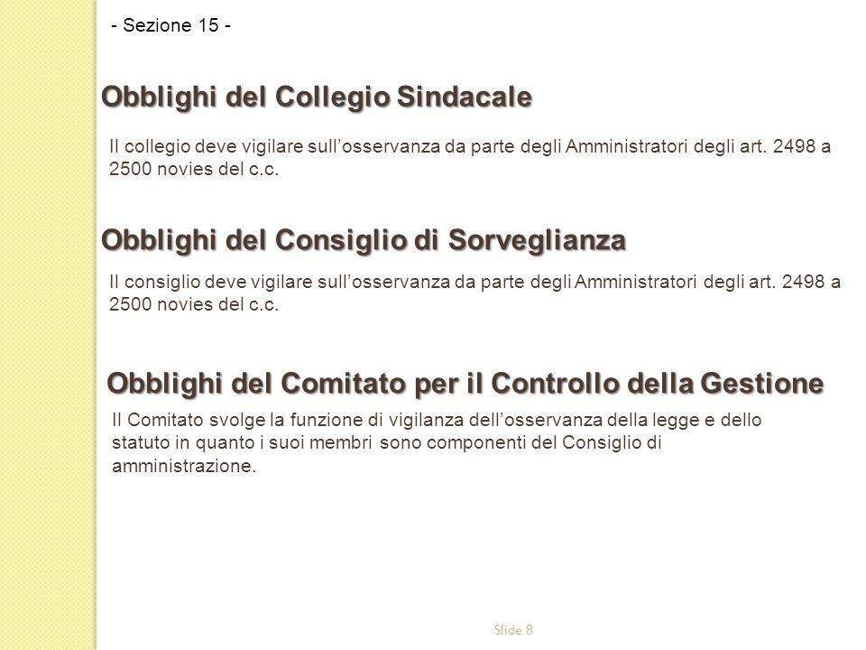 Slide 8 Il collegio deve vigilare sull'osservanza da parte degli Amministratori degli art. 2498 a 2500 novies del c.c. - Sezione 15 - Obblighi del Col