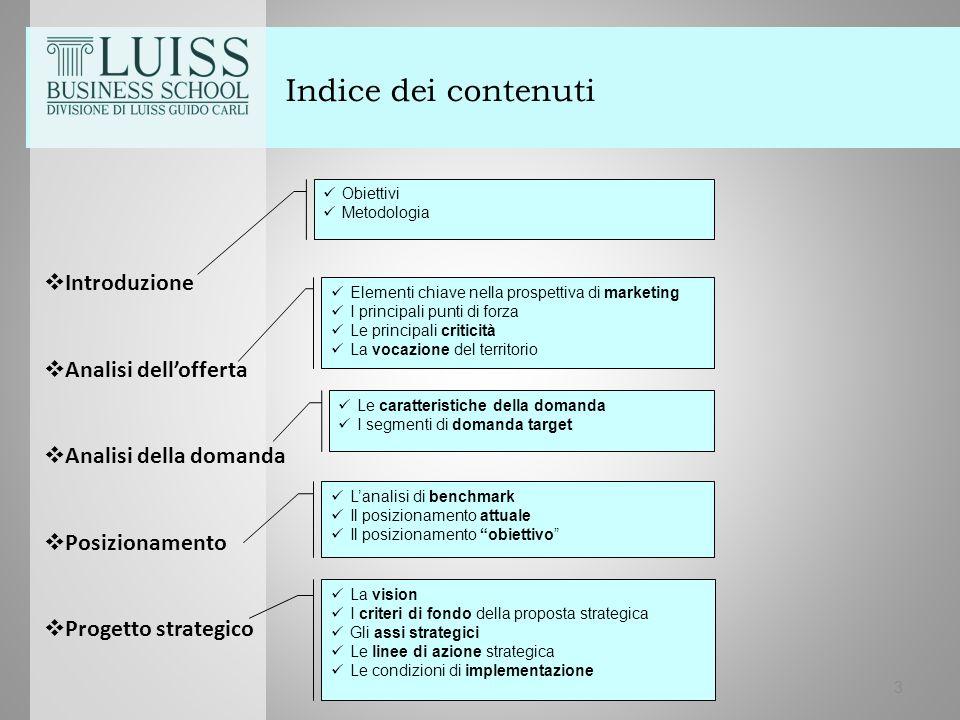 Indice dei contenuti  Introduzione  Analisi dell'offerta  Analisi della domanda  Posizionamento  Progetto strategico 3 Elementi chiave nella pros