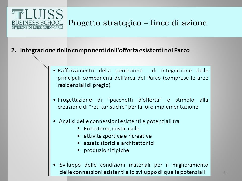 45 Progetto strategico – linee di azione 2.Integrazione delle componenti dell'offerta esistenti nel Parco Rafforzamento della percezione di integrazio