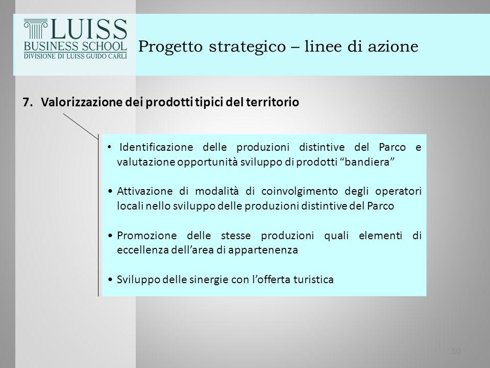 50 Progetto strategico – linee di azione 7.Valorizzazione dei prodotti tipici del territorio Identificazione delle produzioni distintive del Parco e v
