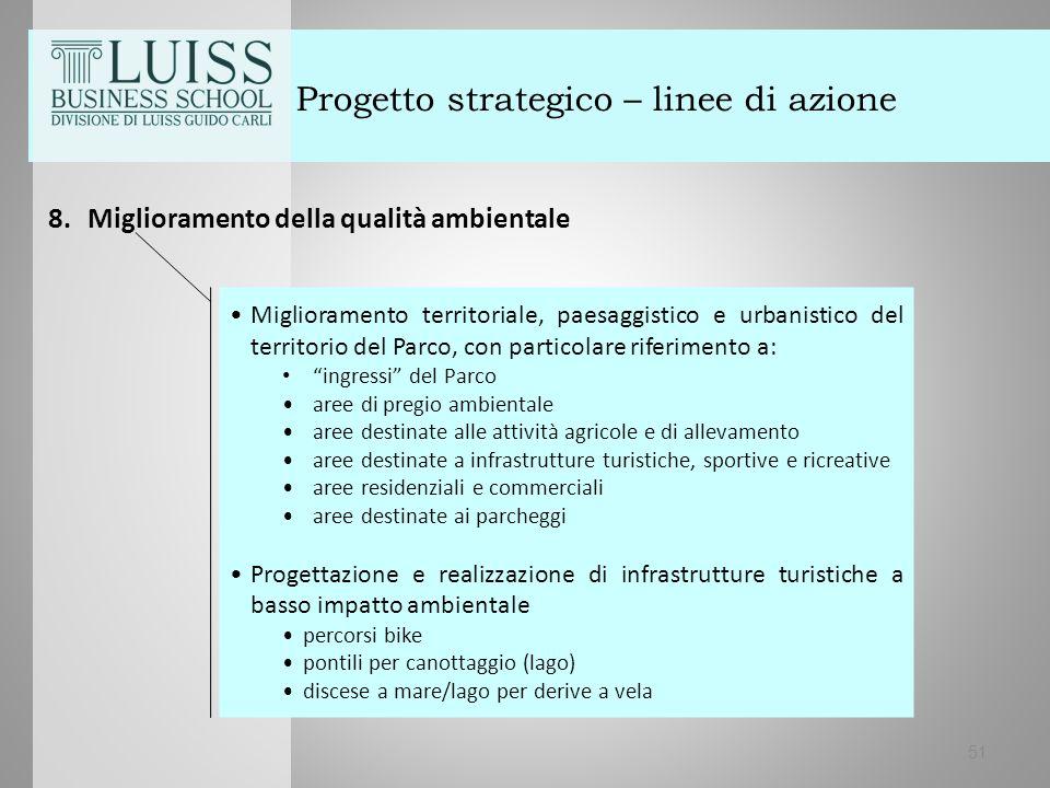 51 Progetto strategico – linee di azione 8.Miglioramento della qualità ambientale Miglioramento territoriale, paesaggistico e urbanistico del territor