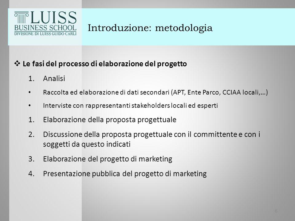Introduzione: metodologia  Le fasi del processo di elaborazione del progetto 1.Analisi Raccolta ed elaborazione di dati secondari (APT, Ente Parco, C
