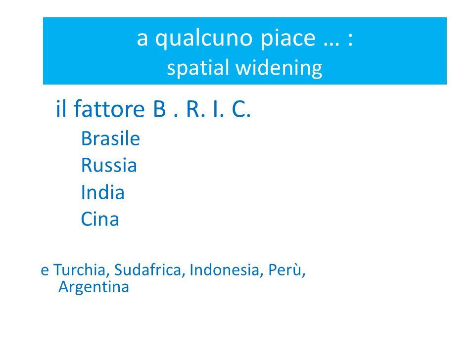 a qualcuno piace … : spatial widening il fattore B. R. I. C. Brasile Russia India Cina e Turchia, Sudafrica, Indonesia, Perù, Argentina
