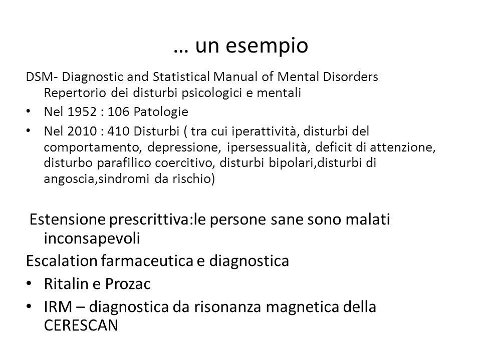 … un esempio DSM- Diagnostic and Statistical Manual of Mental Disorders Repertorio dei disturbi psicologici e mentali Nel 1952 : 106 Patologie Nel 2010 : 410 Disturbi ( tra cui iperattività, disturbi del comportamento, depressione, ipersessualità, deficit di attenzione, disturbo parafilico coercitivo, disturbi bipolari,disturbi di angoscia,sindromi da rischio) Estensione prescrittiva:le persone sane sono malati inconsapevoli Escalation farmaceutica e diagnostica Ritalin e Prozac IRM – diagnostica da risonanza magnetica della CERESCAN