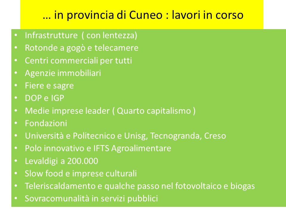 … in provincia di Cuneo : lavori in corso Infrastrutture ( con lentezza) Rotonde a gogò e telecamere Centri commerciali per tutti Agenzie immobiliari
