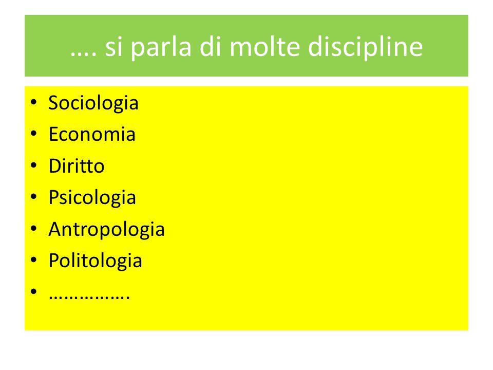 …. si parla di molte discipline Sociologia Economia Diritto Psicologia Antropologia Politologia …………….