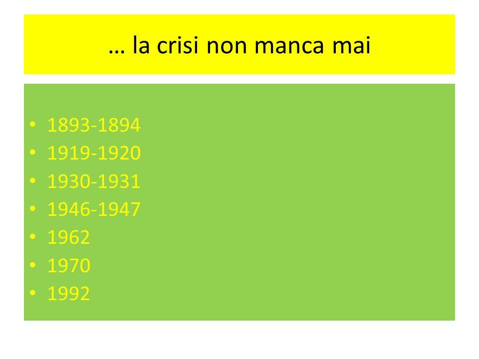 … la crisi non manca mai 1893-1894 1919-1920 1930-1931 1946-1947 1962 1970 1992