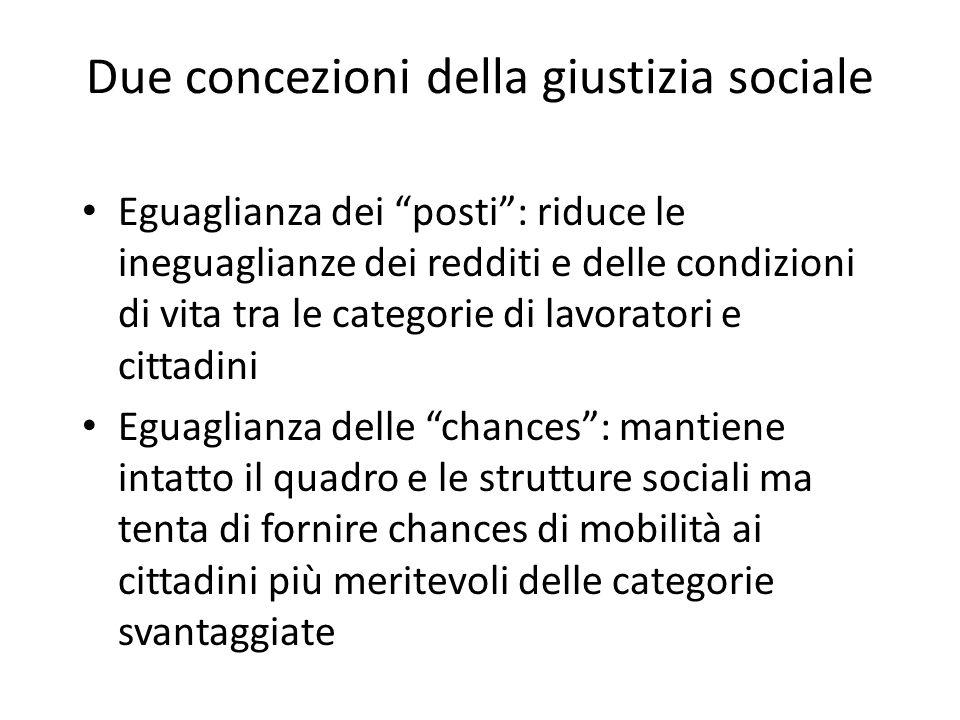 """Due concezioni della giustizia sociale Eguaglianza dei """"posti"""": riduce le ineguaglianze dei redditi e delle condizioni di vita tra le categorie di lav"""