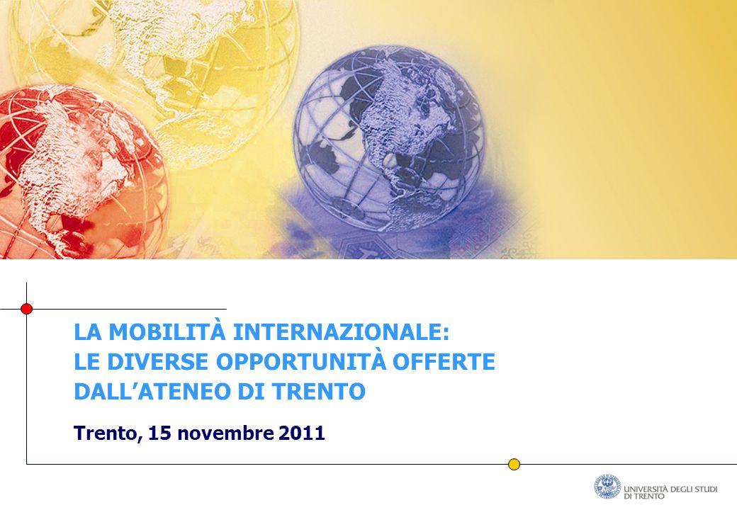 LA MOBILITÀ INTERNAZIONALE: LE DIVERSE OPPORTUNITÀ OFFERTE DALL'ATENEO DI TRENTO Trento, 15 novembre 2011