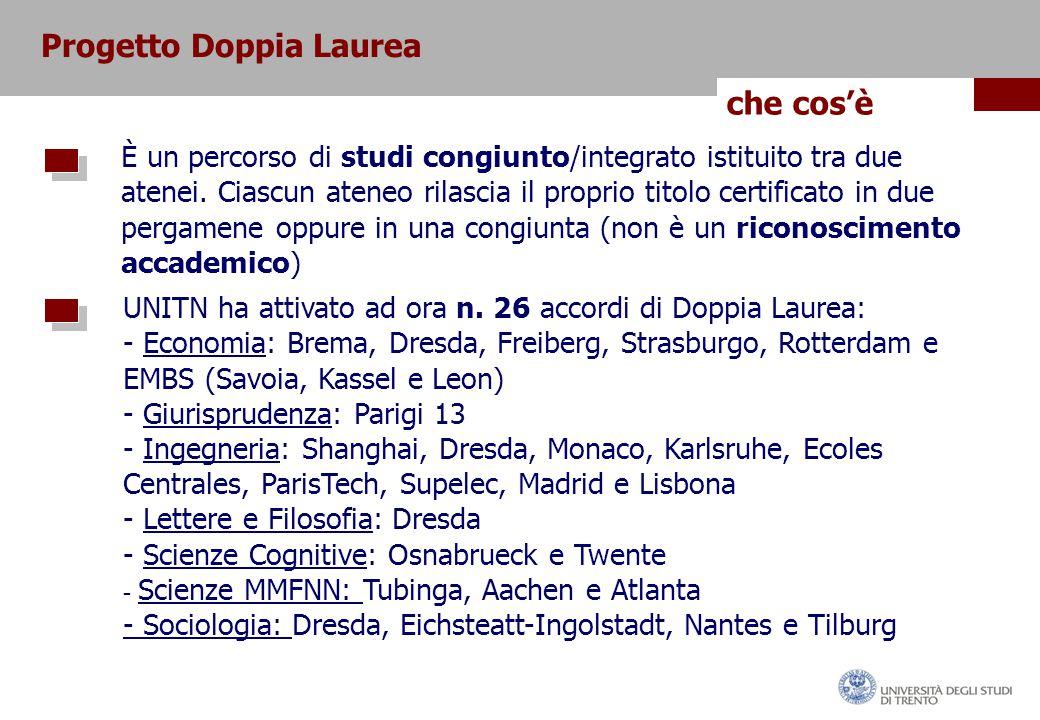 Progetto Doppia Laurea che cos'è È un percorso di studi congiunto/integrato istituito tra due atenei.