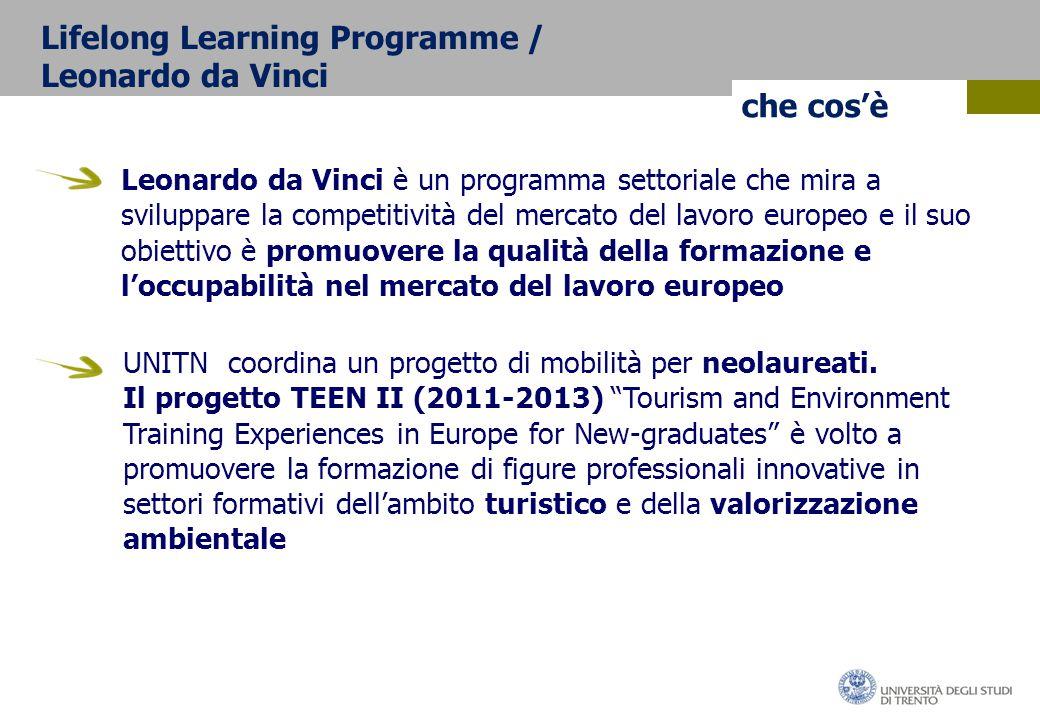 che cos'è Leonardo da Vinci è un programma settoriale che mira a sviluppare la competitività del mercato del lavoro europeo e il suo obiettivo è promuovere la qualità della formazione e l'occupabilità nel mercato del lavoro europeo UNITN coordina un progetto di mobilità per neolaureati.