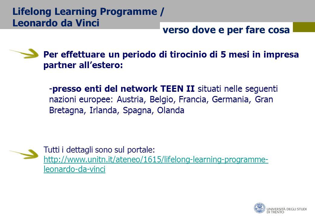 Per effettuare un periodo di tirocinio di 5 mesi in impresa partner all'estero: verso dove e per fare cosa Lifelong Learning Programme / Leonardo da Vinci -presso enti del network TEEN II situati nelle seguenti nazioni europee: Austria, Belgio, Francia, Germania, Gran Bretagna, Irlanda, Spagna, Olanda Tutti i dettagli sono sul portale: http://www.unitn.it/ateneo/1615/lifelong-learning-programme- leonardo-da-vinci http://www.unitn.it/ateneo/1615/lifelong-learning-programme- leonardo-da-vinci