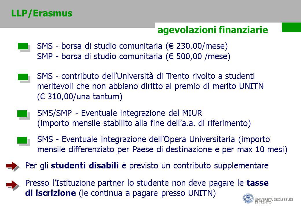 agevolazioni finanziarie SMS - borsa di studio comunitaria (€ 230,00/mese) SMS - contributo dell'Università di Trento rivolto a studenti meritevoli che non abbiano diritto al premio di merito UNITN (€ 310,00/una tantum) SMS/SMP - Eventuale integrazione del MIUR (importo mensile stabilito alla fine dell'a.a.
