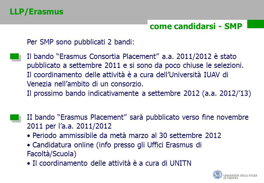 come candidarsi - SMP Per SMP sono pubblicati 2 bandi: Il bando Erasmus Consortia Placement a.a.