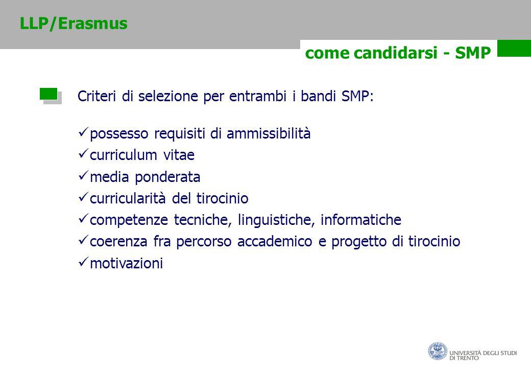 come candidarsi - SMP Criteri di selezione per entrambi i bandi SMP: possesso requisiti di ammissibilità curriculum vitae media ponderata curricularità del tirocinio competenze tecniche, linguistiche, informatiche coerenza fra percorso accademico e progetto di tirocinio motivazioni LLP/Erasmus