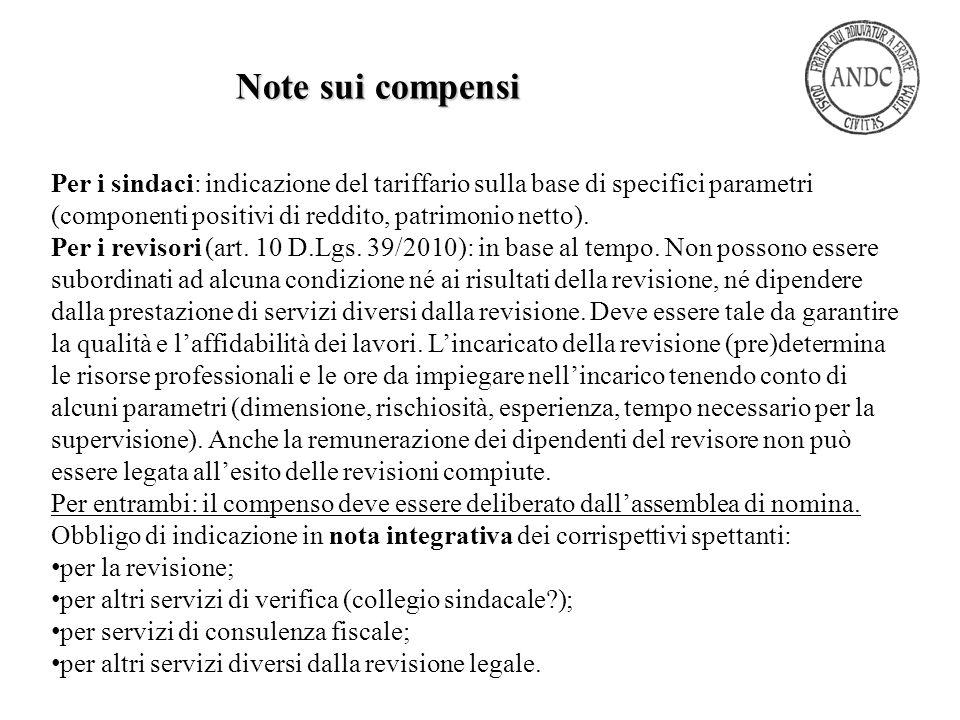 Per i sindaci: indicazione del tariffario sulla base di specifici parametri (componenti positivi di reddito, patrimonio netto). Per i revisori (art. 1
