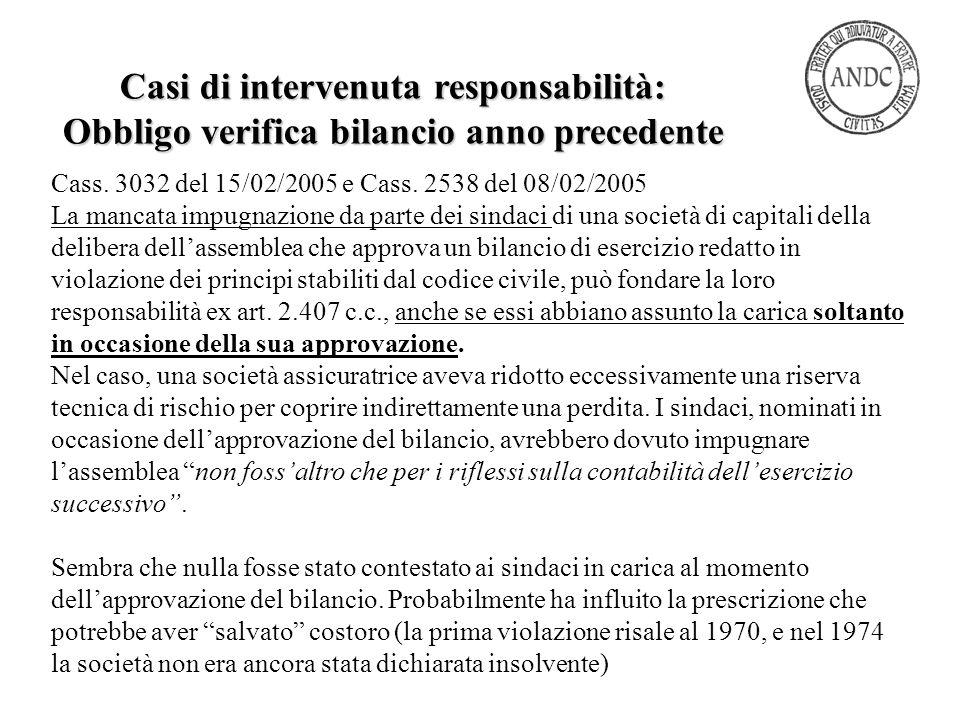 Cass. 3032 del 15/02/2005 e Cass. 2538 del 08/02/2005 La mancata impugnazione da parte dei sindaci di una società di capitali della delibera dell'asse