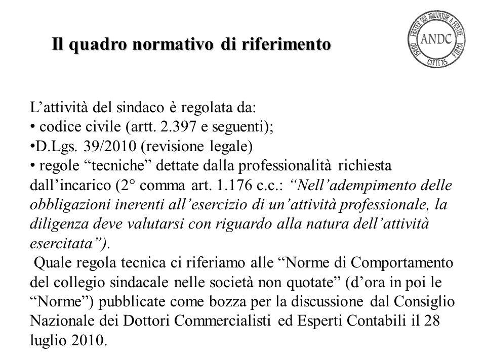"""L'attività del sindaco è regolata da: codice civile (artt. 2.397 e seguenti); D.Lgs. 39/2010 (revisione legale) regole """"tecniche"""" dettate dalla profes"""