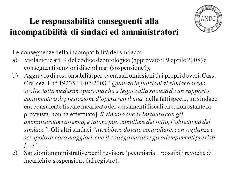 Le conseguenze della incompatibilità del sindaco: a)Violazione art. 9 del codice deontologico (approvato il 9 aprile 2008) e conseguenti sanzioni disc