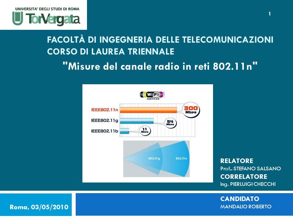 FACOLTÀ DI INGEGNERIA DELLE TELECOMUNICAZIONI CORSO DI LAUREA TRIENNALE Misure del canale radio in reti 802.11n Roma, 03/05/2010 RELATORE Prof..