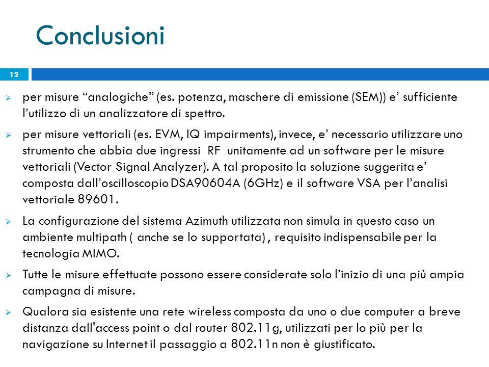 """ per misure """"analogiche"""" (es. potenza, maschere di emissione (SEM)) e' sufficiente l'utilizzo di un analizzatore di spettro.  per misure vettoriali"""