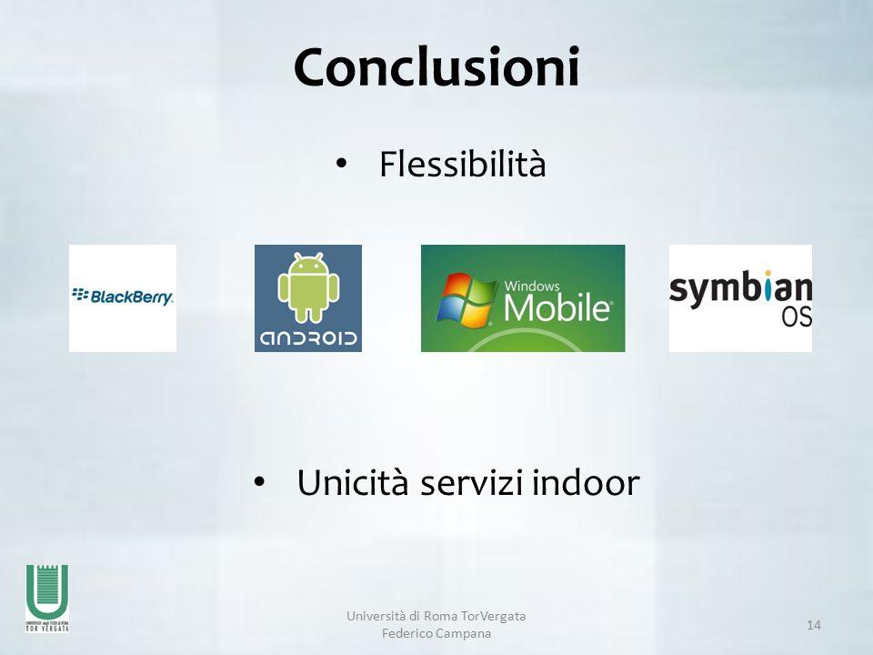 Università di Roma TorVergata Federico Campana 14 Conclusioni Unicità servizi indoor Flessibilità