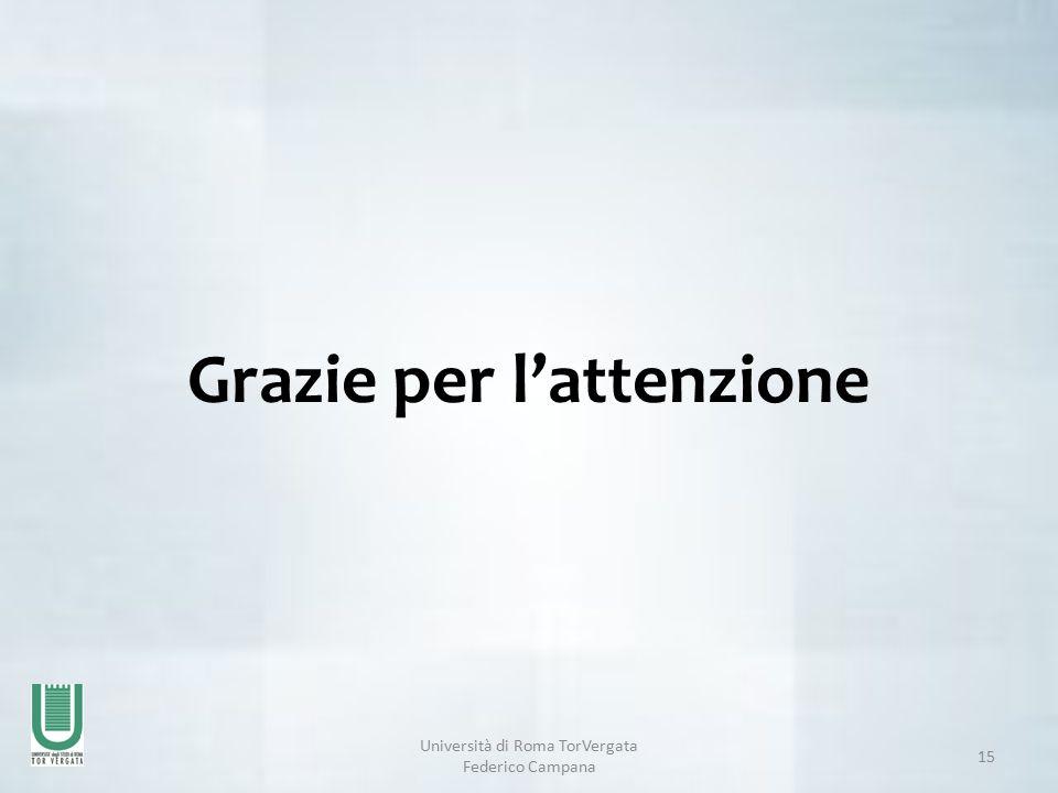 Università di Roma TorVergata Federico Campana 15 Grazie per l'attenzione