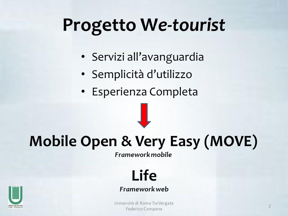 Progetto We-tourist Servizi all'avanguardia Semplicità d'utilizzo Esperienza Completa Università di Roma TorVergata Federico Campana 2 Mobile Open & Very Easy (MOVE) Framework mobile Life Framework web