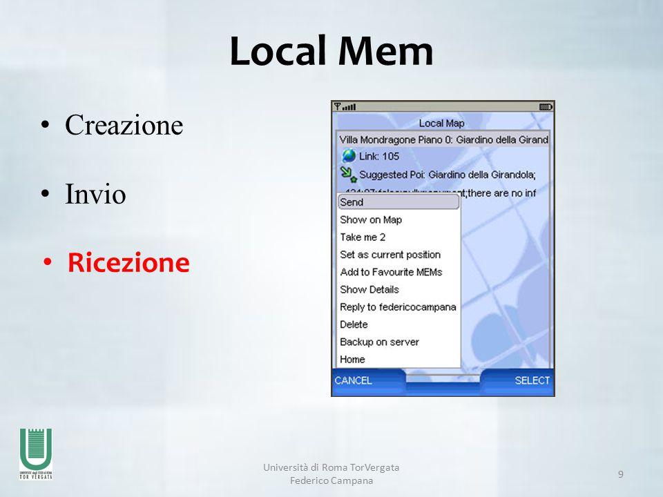 Università di Roma TorVergata Federico Campana 9 Local Mem Creazione Invio Ricezione