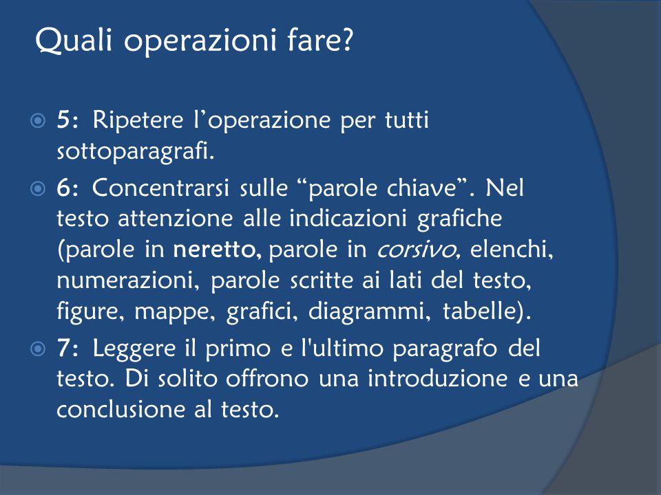 Quali operazioni fare.  5:Ripetere l'operazione per tutti sottoparagrafi.