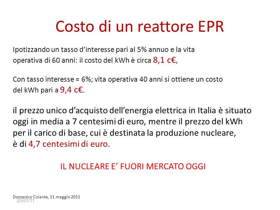 Costo di un reattore EPR 25/01/11 Ipotizzando un tasso d'interesse pari al 5% annuo e la vita operativa di 60 anni: il costo del kWh è circa 8,1 c€, C