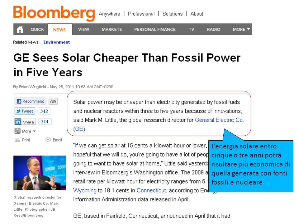 25/01/11 L'energia solare entro cinque o tre anni potrà risultare più economica di quella generata con fonti fossili e nucleare