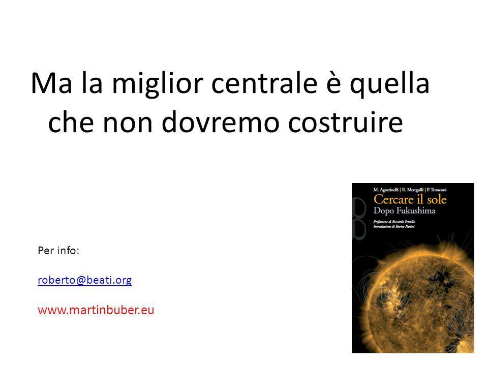 56 Ma la miglior centrale è quella che non dovremo costruire Per info: roberto@beati.org www.martinbuber.eu