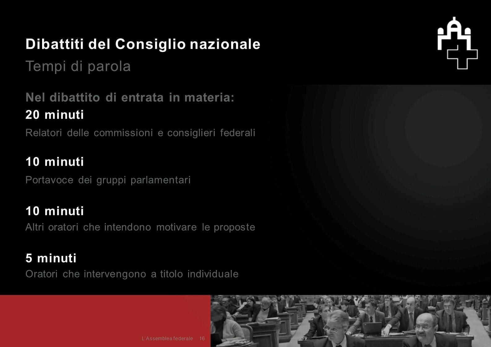 Dibattiti del Consiglio nazionale Tempi di parola Nel dibattito di entrata in materia: 20 minuti 10 minuti 5 minuti Portavoce dei gruppi parlamentari