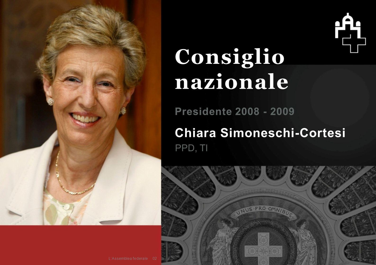 Chiara Simoneschi-Cortesi PPD, TI Presidente 2008 - 2009 02 Consiglio nazionale L'Assemblea federale