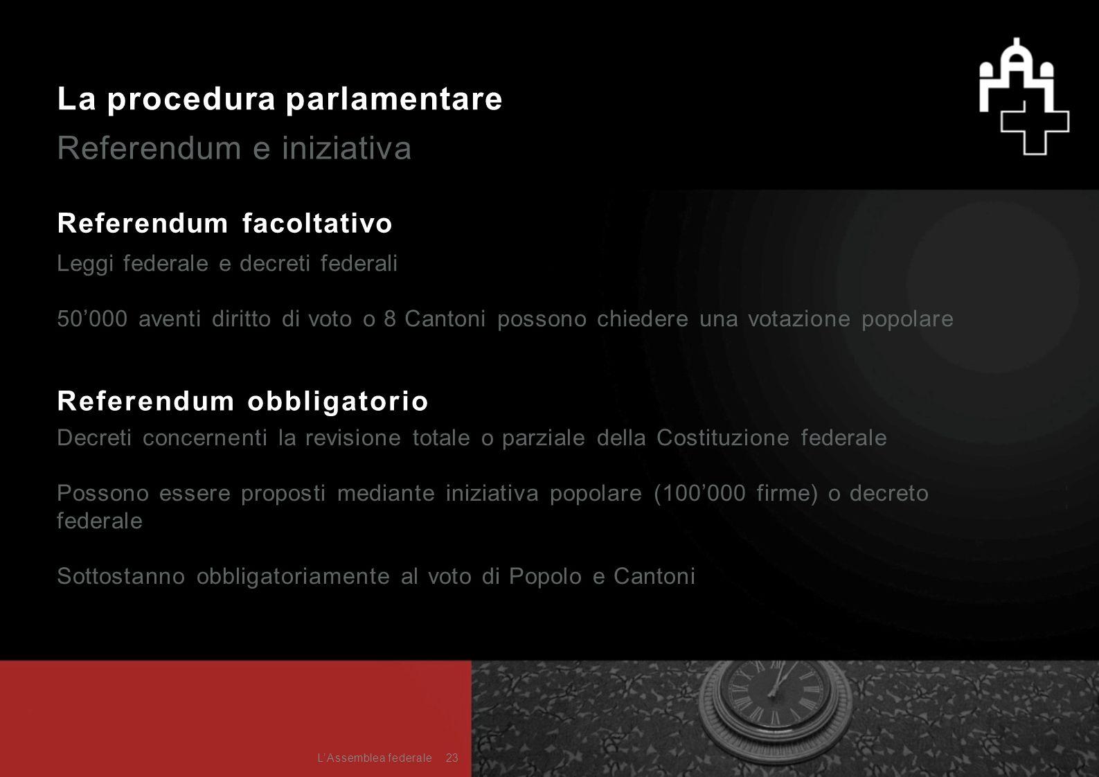 La procedura parlamentare Referendum e iniziativa Referendum facoltativo Leggi federale e decreti federali 50'000 aventi diritto di voto o 8 Cantoni p
