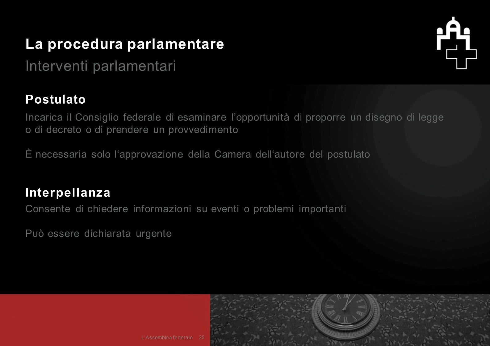La procedura parlamentare Interventi parlamentari Postulato Incarica il Consiglio federale di esaminare l'opportunità di proporre un disegno di legge