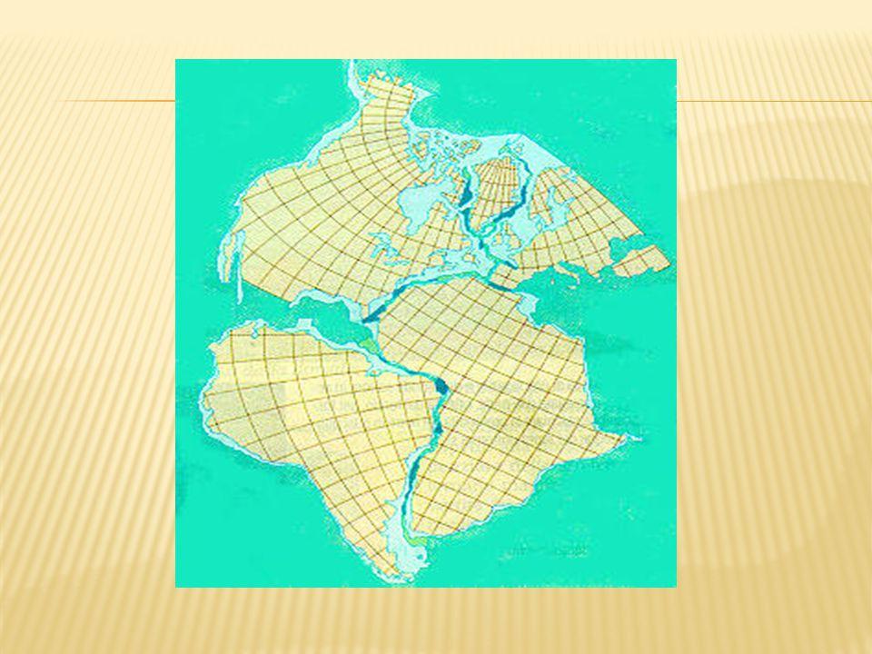  Circa 200 milioni di anni fa tutti i continenti erano riuniti in un'unica massa continentale, che Wegener chiamò Pangea, circondata da un unico grande Oceano, la Pantalassa ( i due termini derivano dal greco antico, dove παν significa tutto, γή significa Terra e θαλασσα significa Mare).