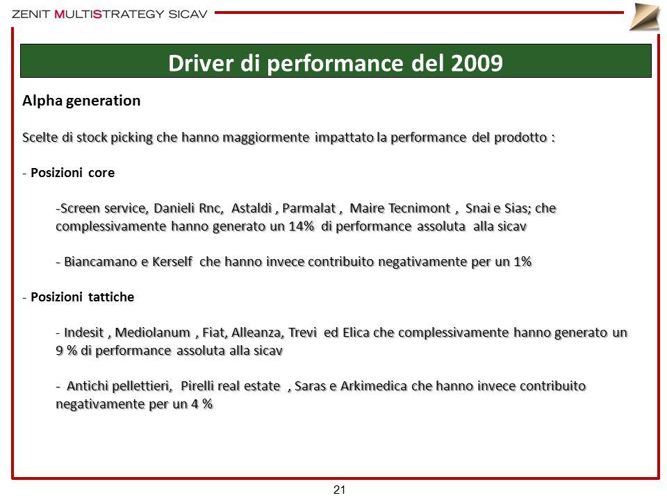Alpha generation Scelte di stock picking che hanno maggiormente impattato la performance del prodotto : - Posizioni core -Screen service, Danieli Rnc,