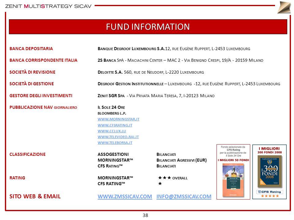 FUND INFORMATION BANCA DEPOSITARIAB ANQUE D EGROOF L UXEMBOURG S.A.12, RUE E UGÈNE R UPPERT, L-2453 L UXEMBOURG BANCA CORRISPONDENTE ITALIA2S B ANCA S