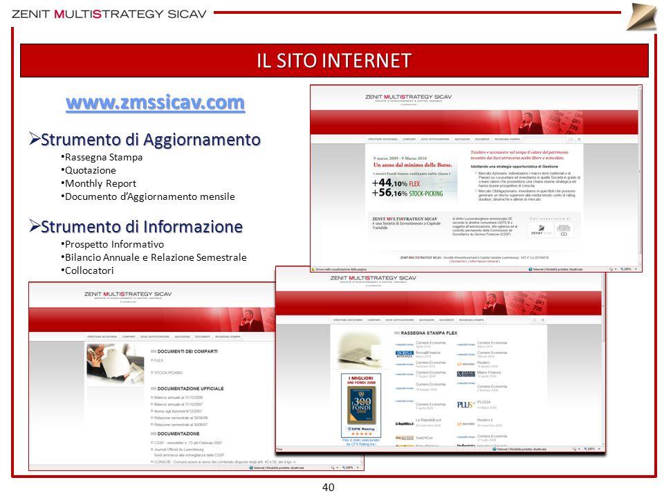 IL SITO INTERNET 40 www.zmssicav.com Strumento di Aggiornamento  Strumento di Aggiornamento Rassegna Stampa Quotazione Monthly Report Documento d'Agg