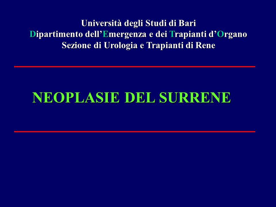 NEOPLASIE DEL SURRENE Università degli Studi di Bari Dipartimento dell'Emergenza e dei Trapianti d'Organo Sezione di Urologia e Trapianti di Rene